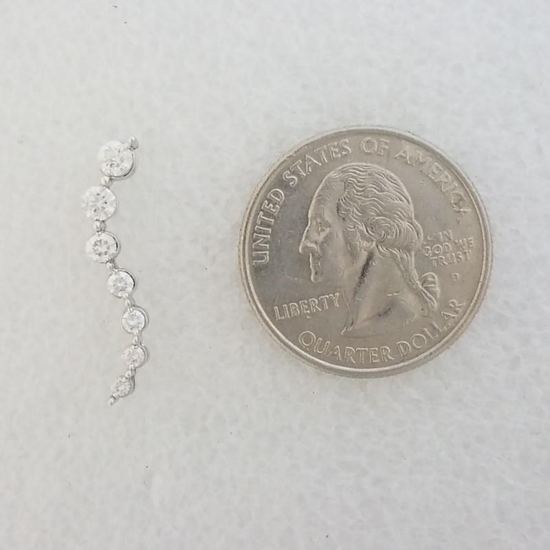 14K White Gold Curving Diamond Journey Slide Pendant .49ctw