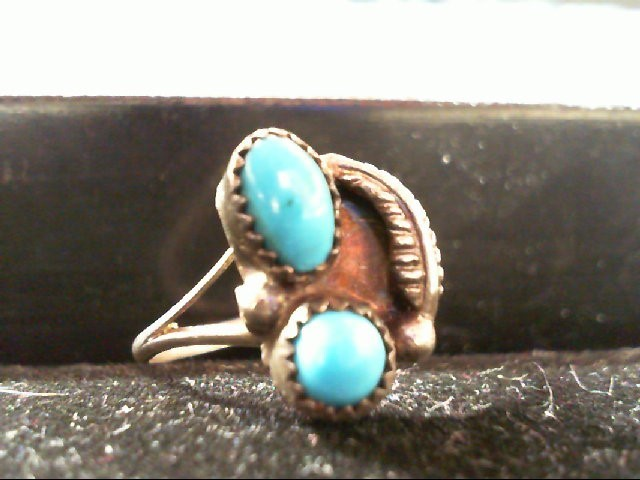Lady's 925 Silver and Turquiose Ring 2.2g Size 7