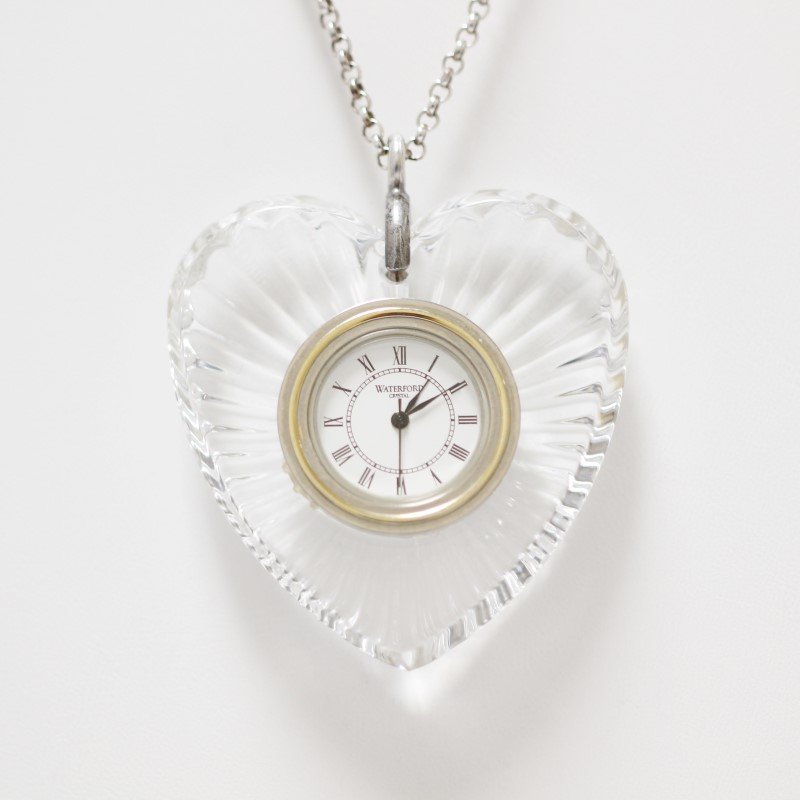"Waterford Crystal Open Faced Heart Watch Necklace With 27"" Chain"