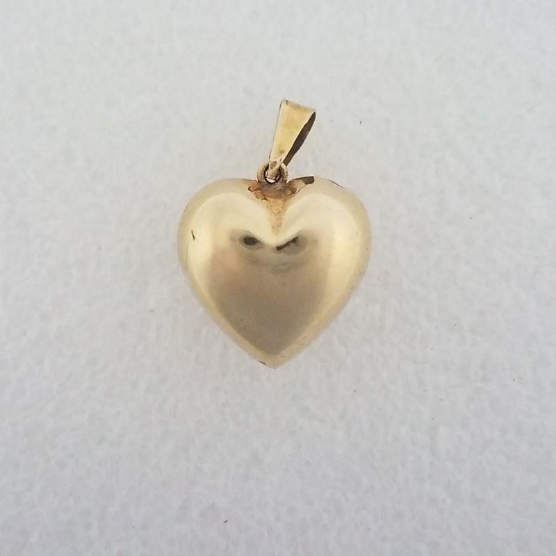 14K Yellow Gold 3D Plain Polished Puffy Heart Pendant