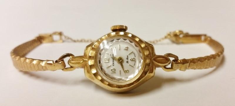 Vintage 1 Jewel Kronatron De Luxe Swiss Made Gold Toned Women's Wind-Up Watch