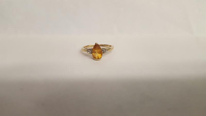 Yellow Stone Lady's Stone & Diamond Ring 2 Diamonds .02 Carat T.W.