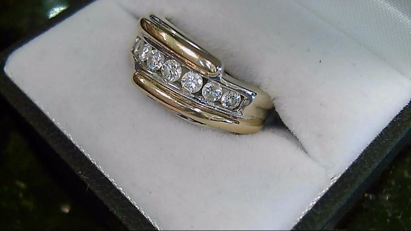 Diamond 14K Two Tone Wedding Band