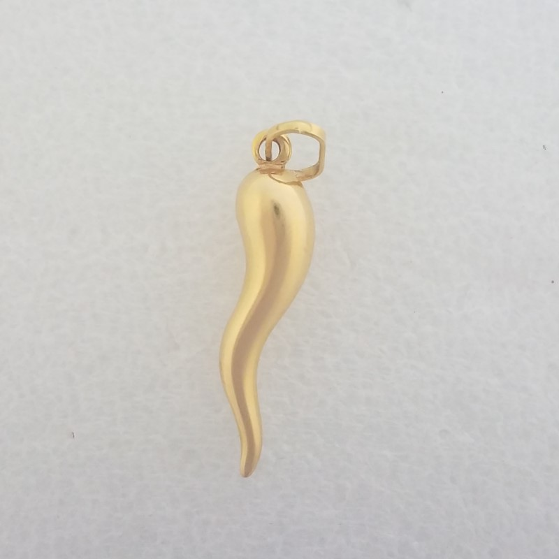 14K Yellow Gold 3D Puffy Polished Italian Horn Pendant