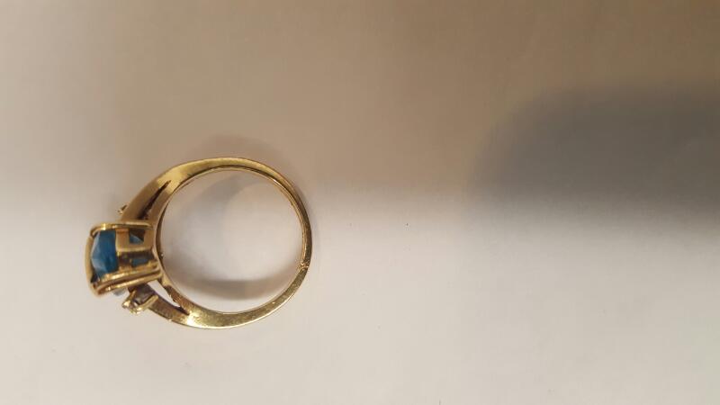 Blue Stone Lady's Stone Ring 14K Yellow Gold 3.6g Size:3.5