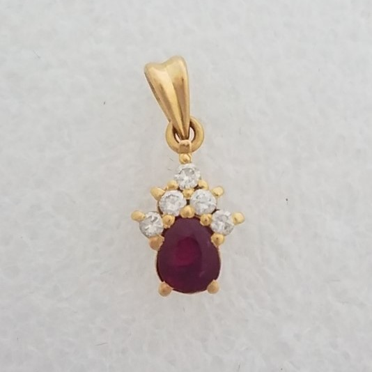 18K Yellow Gold Authentic Pear Shaped Ruby & Diamond Cluster Pendant