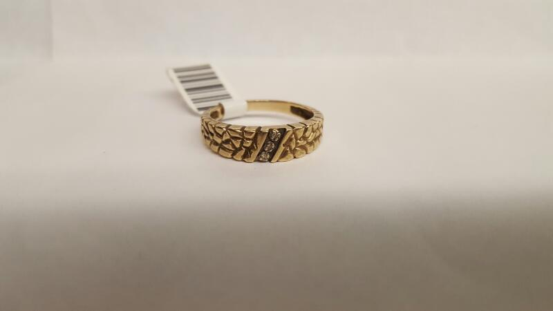 Gent's Gold-Diamond Wedding Band 3 Diamonds .03 Carat T.W. 10K Yellow Gold