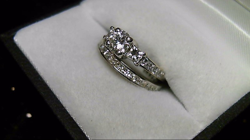 14K White Gold Eternity Diamond Wedding Ring Set