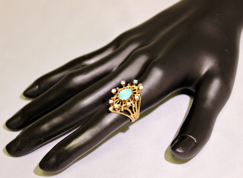 14K Yellow Gold Vintage Inspired Created Opal Cluster Ring