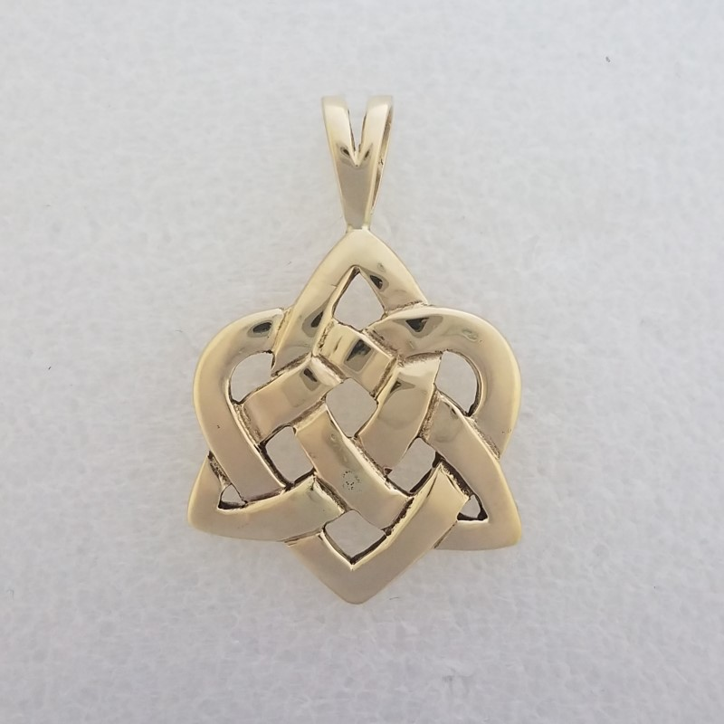 14K Solid Yellow Gold HEAVY Polished Celtic Triquetra Heart Pendant