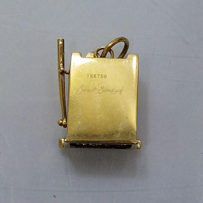 18K Yellow Gold Simayof Jewelers Diamond Encrusted Slot Machine Charm (Moves)