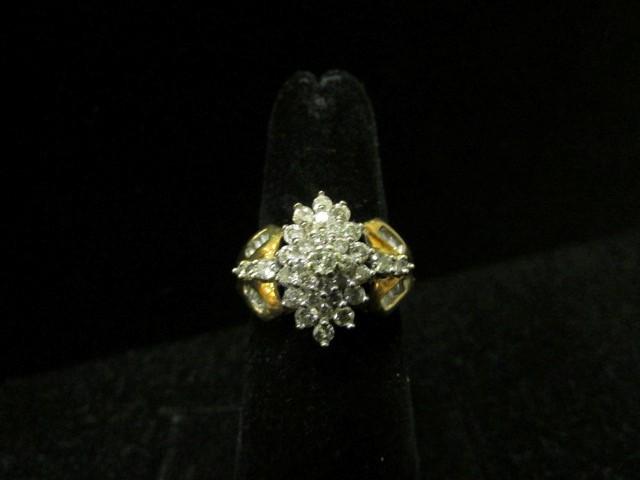 Lady's Diamond Cluster Ring 51 Diamonds 1.61 Carat T.W. 10K Yellow Gold 4.4g Siz
