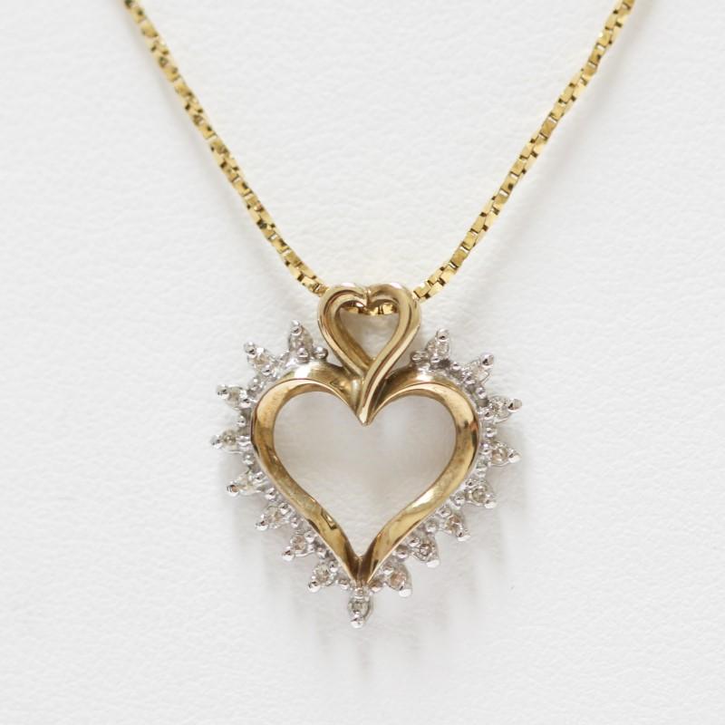 14K Yellow Gold Diamond Heart Charm Necklace