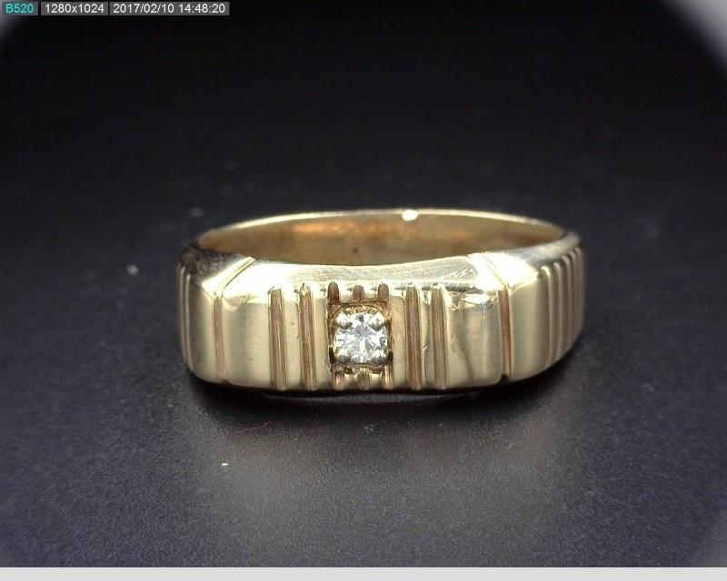 MEN'S 10K YG APX.09CT DIAMOND RING SZ.12.5 4.8MM