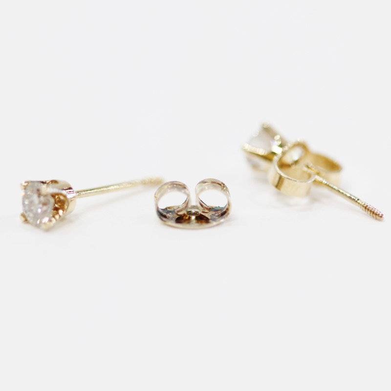 10K Yellow Gold Round Brilliant Diamond Screw Back Stud Earrings