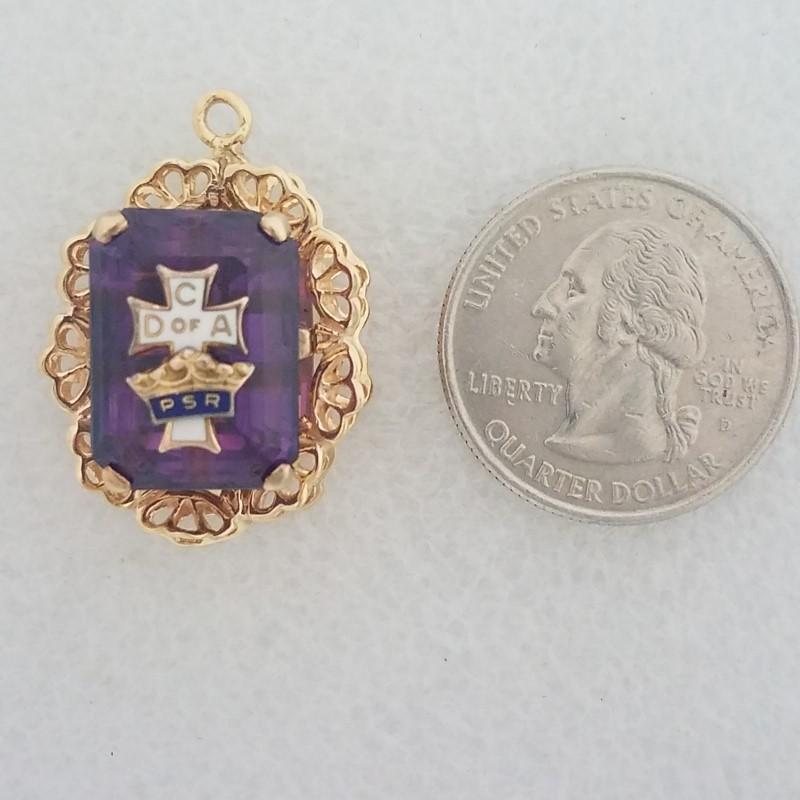Vintage 14K Yellow Gold Catholic Daughters of America Amethyst Filigree Pendant