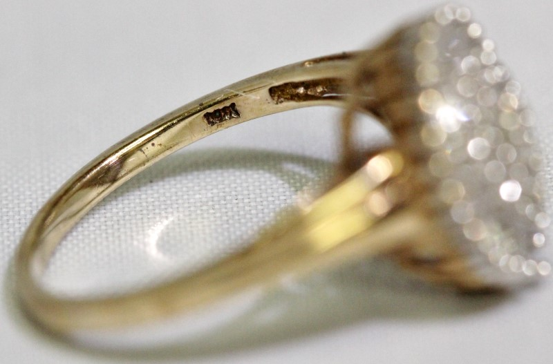 14k Yellow Gold Cathedral Set Diamond Teardrop Pear Cluster Ring Size 7