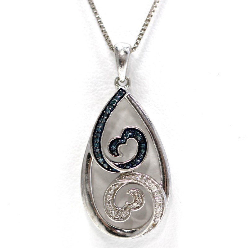 Sterling Silver Blue & White Channel Set Round Diamond Heart Swirl Necklace