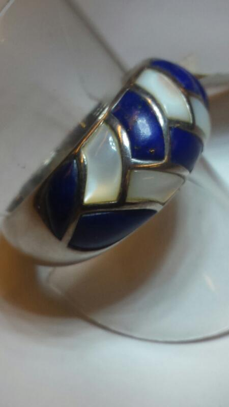 SS RING BRAIDED LAPIS MOTHER OF PEARL SIZE 10