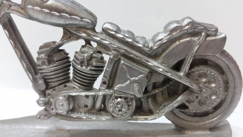 Spoontiques Pewter Motorcycle Themed Desk Table Clock no. 7136