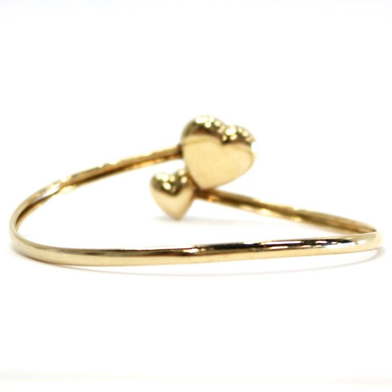 10K Yellow Gold Dual Heart Open Twist Bracelet