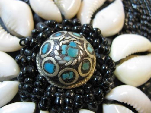 Vintage Cowrie & Black Beaded Belt and Braided Necklace