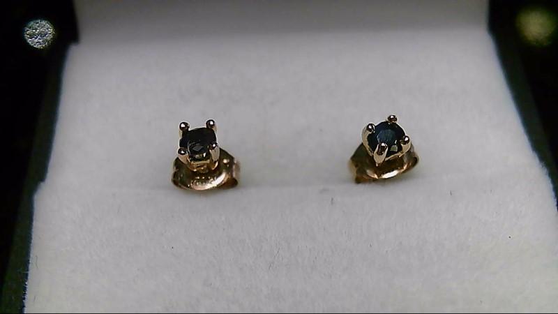 Synthetic Sapphire 925 Silver Stud Earrings 0.55g
