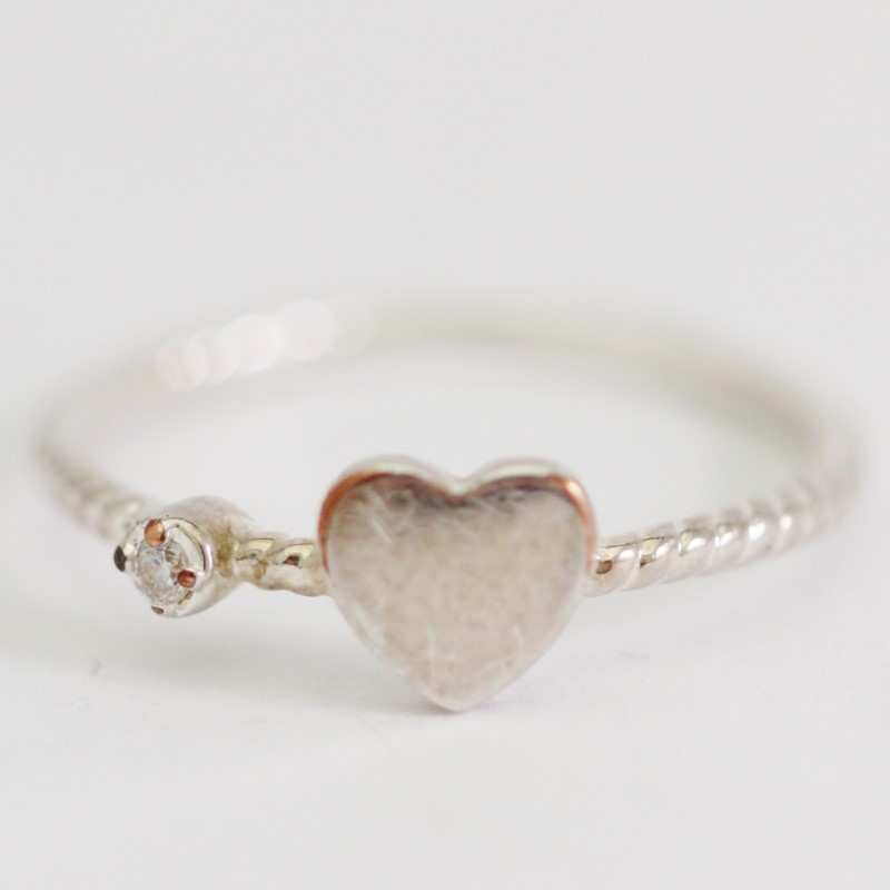Heart & Small Round Cut CZ Sterling Silver Rope Ring Size 5