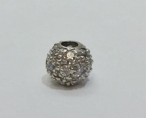 14K White Gold CZ Encrusted Ball Bead Shaped Slide Pendant