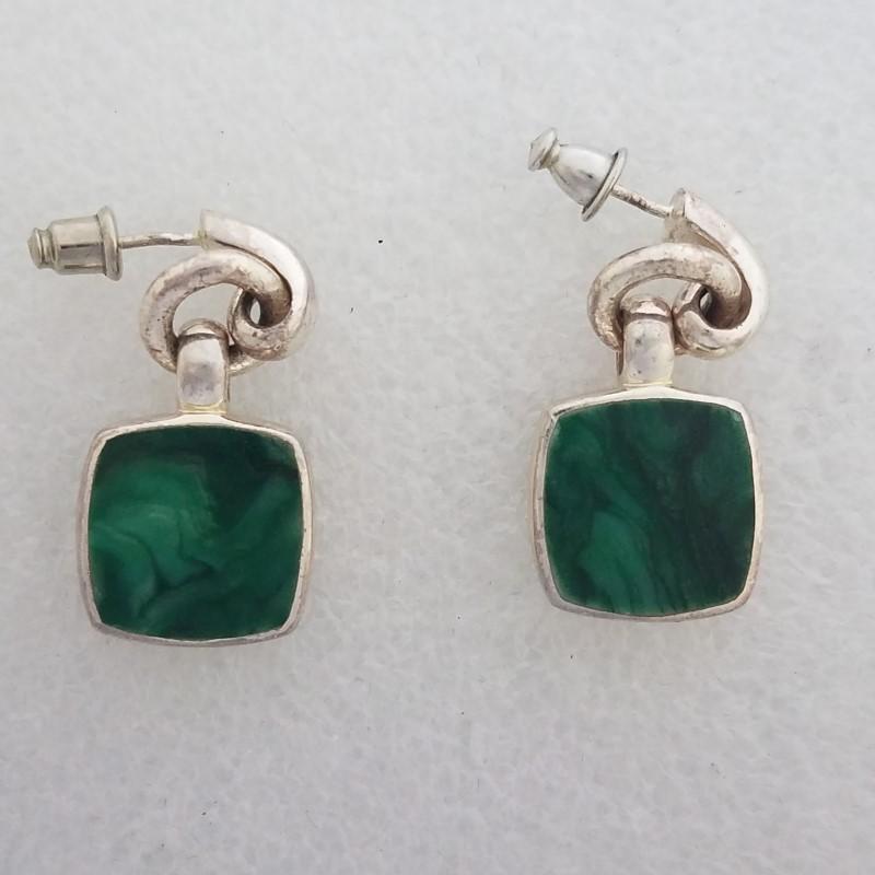 Sterling Silver Cushion Cut Green Malachite Dangle Statement Earrings
