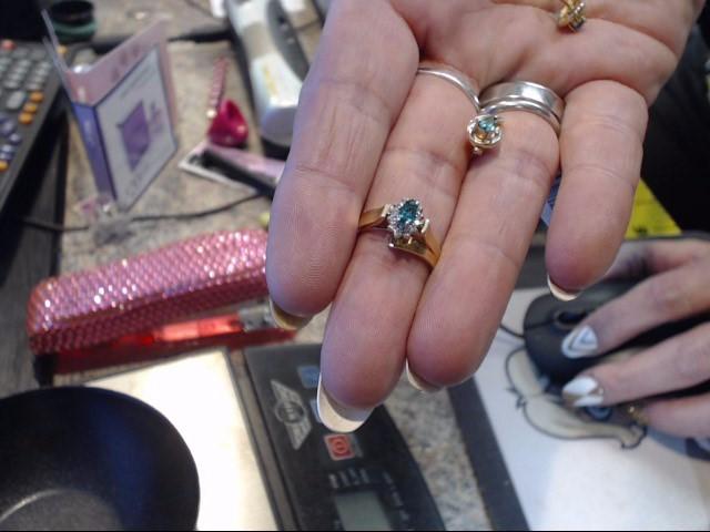 Emerald Lady's Stone & Diamond Ring 10 Diamonds .10 Carat T.W. 10K Yellow Gold
