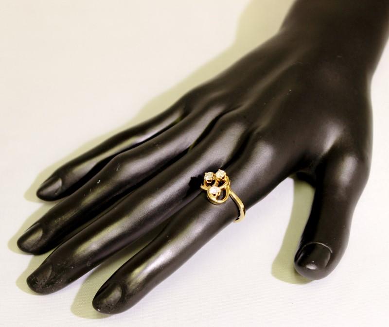14K Yellow Gold Unique Triple Diamond Swirl Open Work Funky Cluster Ring sz 6.25