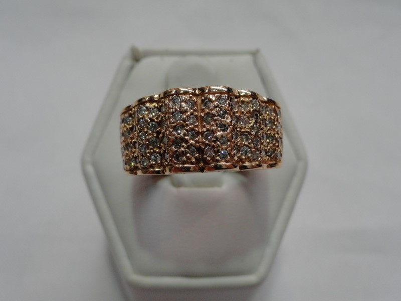 Lady's Diamond Cluster Ring 70 Diamonds .70 Carat T.W. 14K Rose Gold 10.8g