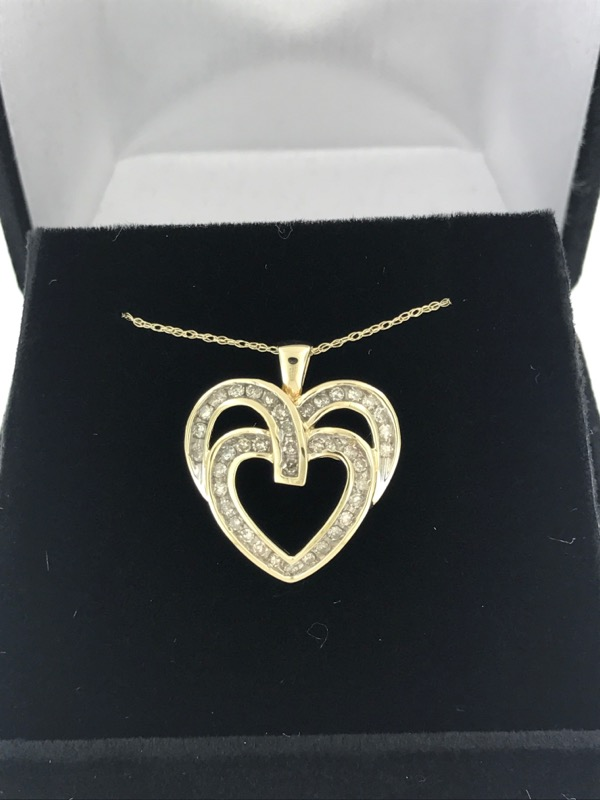 Diamond Necklace 38 Diamonds 1.14 Carat T.W. 10K Yellow Gold 2.6g