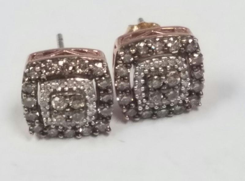 Gold-Diamond Earrings 40 Diamonds .48 Carat T.W. 14K Rose Gold 2.2g