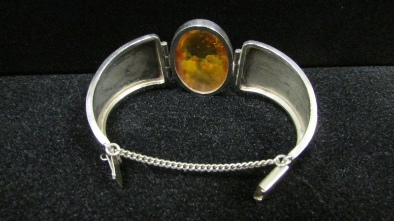 Synthetic Amber Silver-Stone Bracelet 925 Silver 45.7g