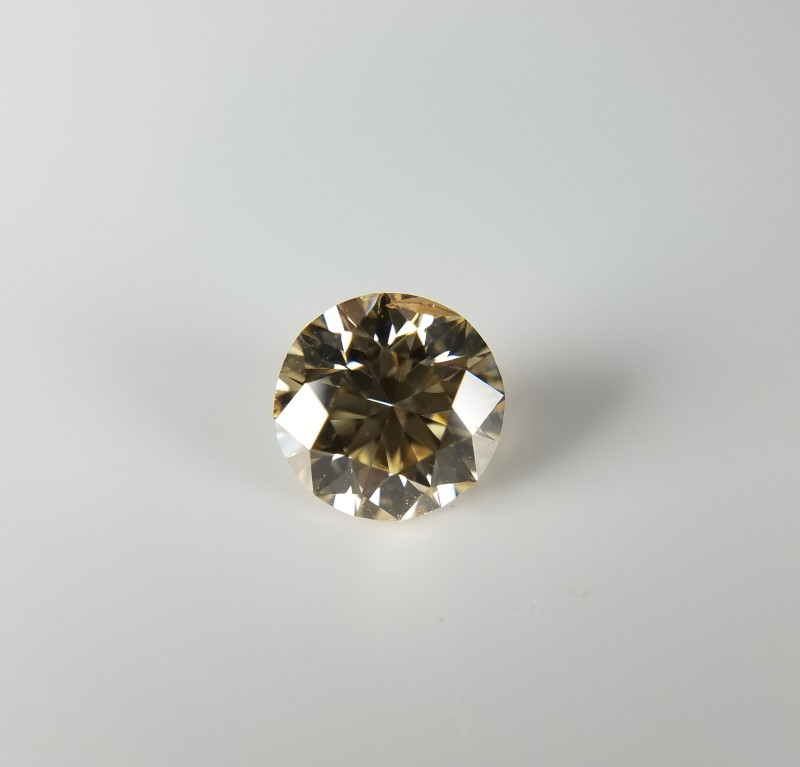GIA CERTIFIED 1.10CT ROUND DIAMOND FANCY LIGHT YELLOW-BROWN; SI2