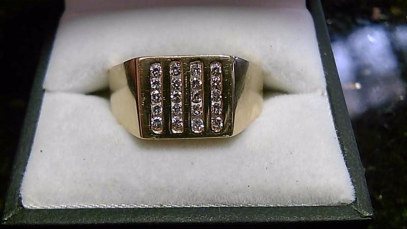 Men's 14K Yellow Gold 20 Diamond Cluster Ring