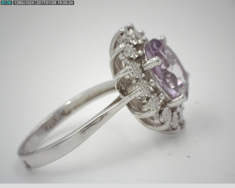 LADY'S STERLING SILVER 3.20CT AMETHYST RING S925 5.5G SZ7.5