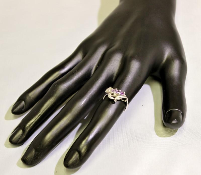 Sterling Silver Marquise Amethyst Adorable Leaf Flower Vine Design Ring sz 5.5