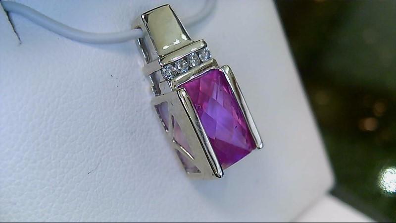 Pink Topaz Gold-Diamond & Stone Pendant 4 Diamonds .04 Carat T.W.