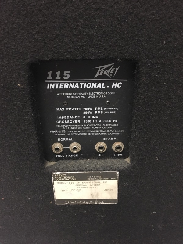 PEAVEY Speakers 115 INTERNATIONAL HC