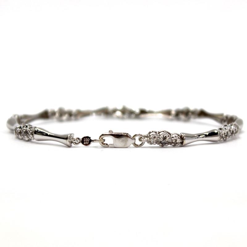 "7"" 10K White Gold Bracelet W/ Tri-Stone Round Brilliant Diamond Accents"