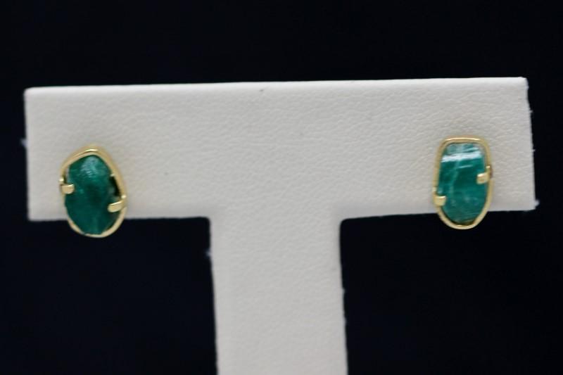 Emerald Gold-Stone Earrings 14K Yellow Gold 2.3g