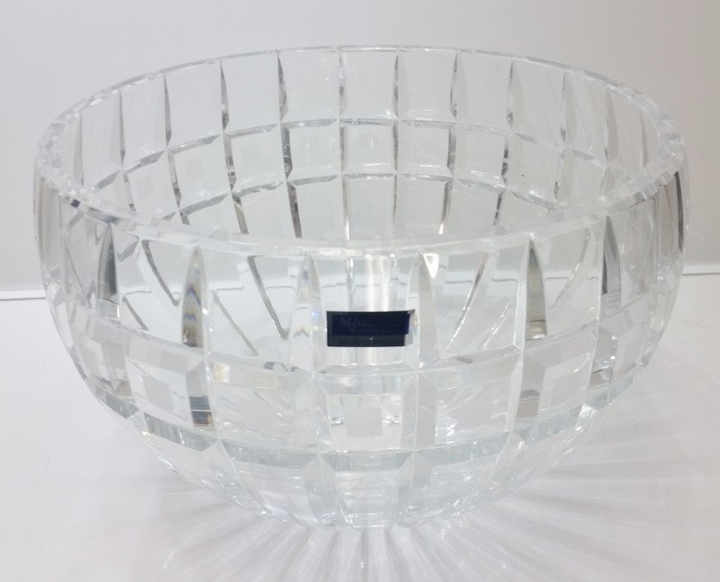 "Marquis by Waterford 10"" Quadrata Lead Crystal Round Bowl w/ Original Box 123394"