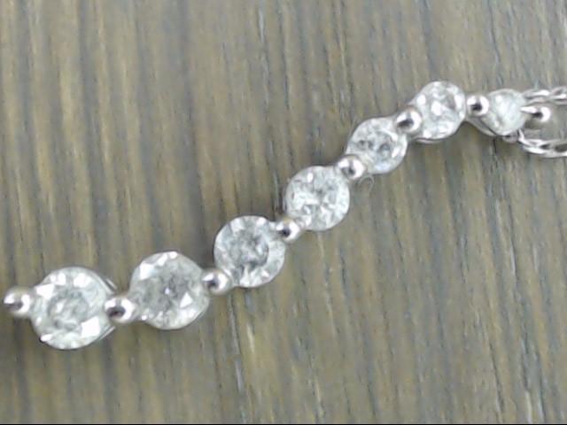 """19"""" NATURAL 7 DIAMOND 0.21tcw JOURNEY NECKLACE REAL 10k WHITE GOLD"""