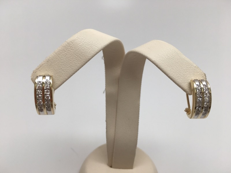 DIAMOND OVAL HOOP EARRINGS 14K YG