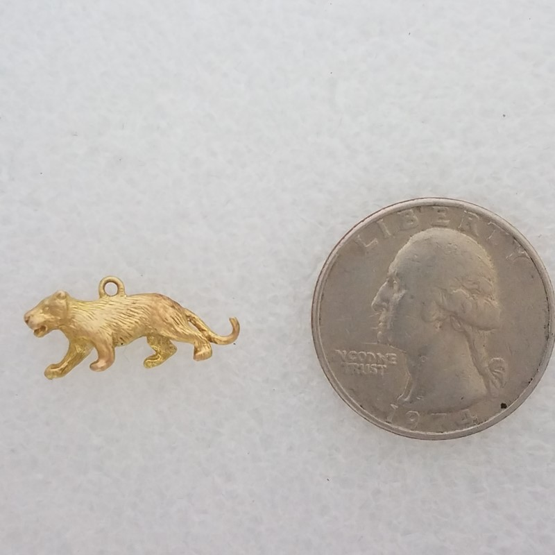 14K Yellow Gold 3D Textured Cougar Panther Mountain Lion Lioness Big Cat Charm
