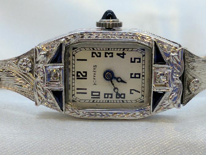 HOFFRERS Sapphire Lady's Wristwatch N/A 2 Diamonds .02 Carat T.W.