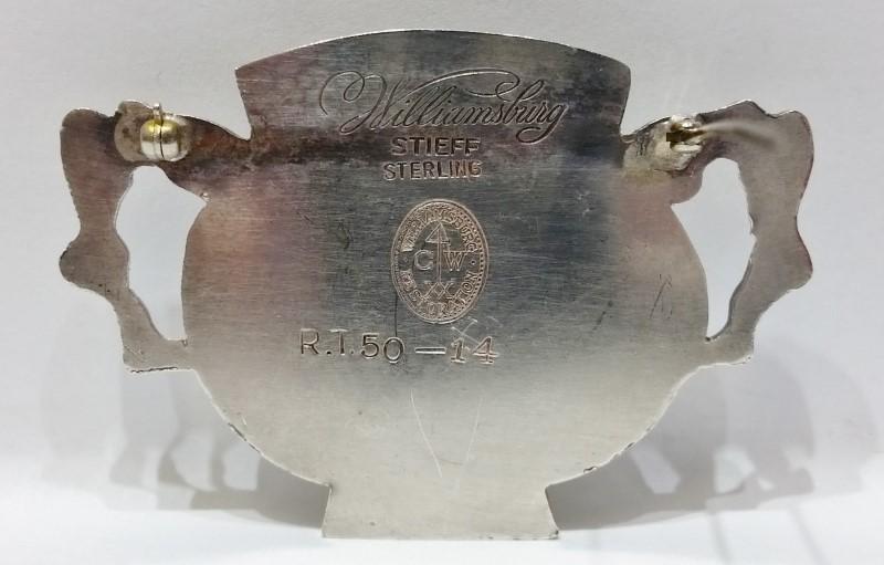 Vintage Stieff Sterling Silver Williamsburg Restoration Vase Bowl Pin Brooch